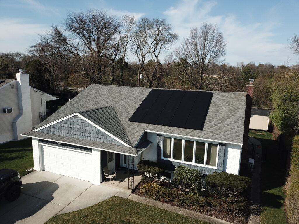 Aerial view of roof top solar panels