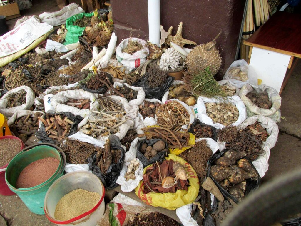 Market stall with traditional medicines