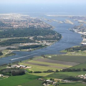 Aerial view of river and port